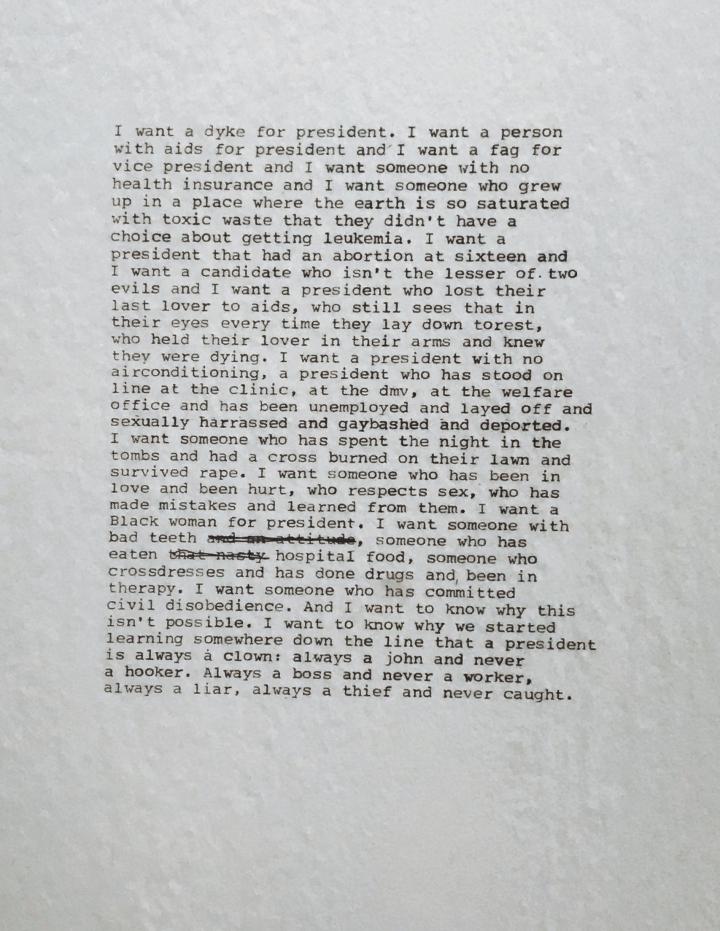 Zoe Leonard, I want a president, 1992 Q&Art questionsandart